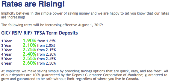 Implicity Rate Increase Aug 1 2017 Implicity Financial Discussion Forum Canadian High Interest Savings Bank Accounts