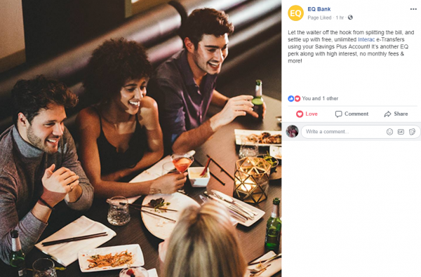 Figure 1: Facebook post from EQ Bank page
