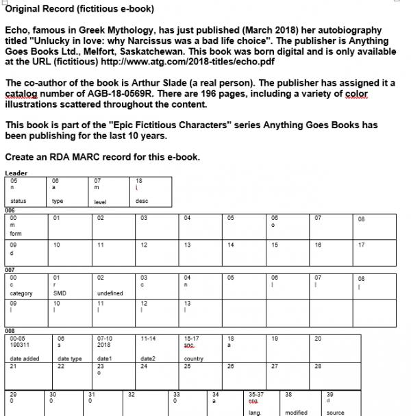 Figure 1:  Part 1 - Catalogue record of fictitious e-book.