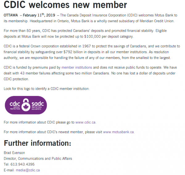 Figure 1:  CDIC press release dated April 2 2019 welcoming Motus Bank as a CDIC member institution