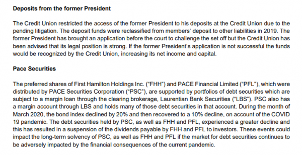 Section 16, p. 47, 2019 Consolidated Financial Statements of PACE Savings and Credit Union, Limited