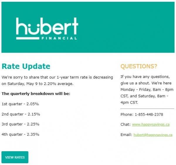 Figure 1: Rate Update e-mail snippet screenshot