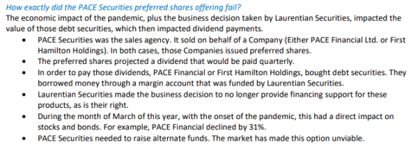 Snippet from member FAQ about Pace Securities Corp wind-up