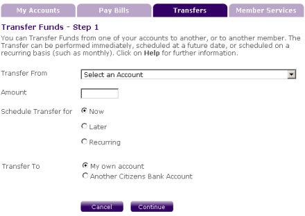 Instant transfer between your two Citizens Bank accounts