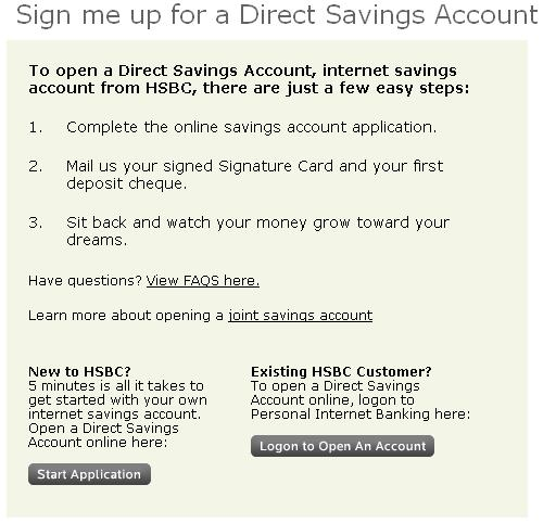 how to open hsbc savings account