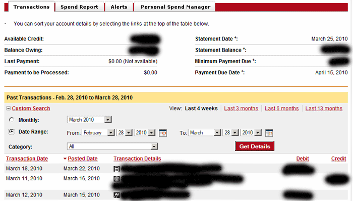CIBC bizline VISA online interface