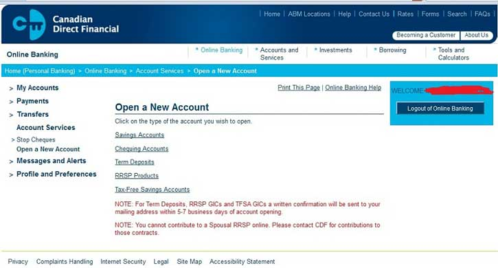 Opening a TFSA at Canadian Direct Financial