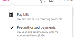 Interface to pay bills