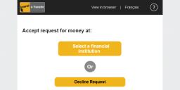 Interac e-Transfer accept request for money