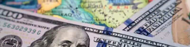 US dollars on a map